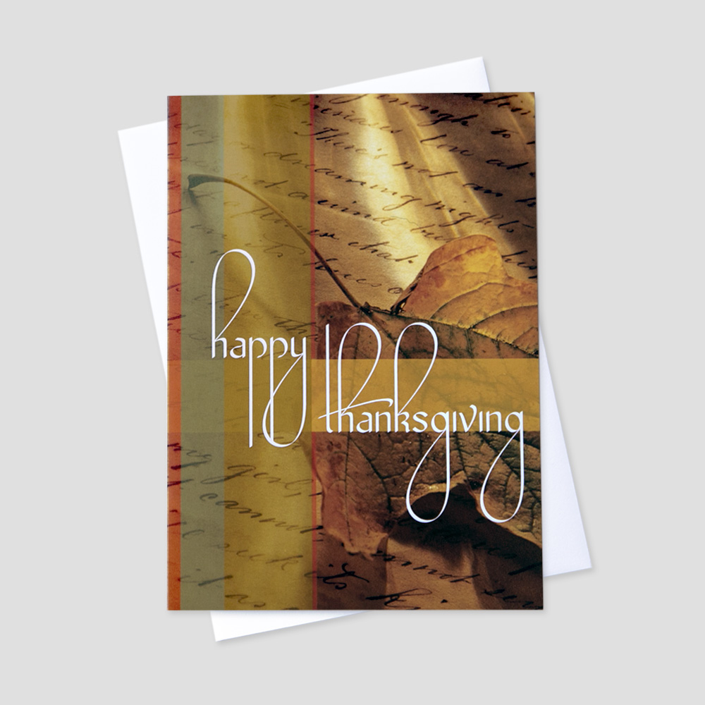 Employee thanksgiving greeting card ceo cards business thanksgiving greeting card featuring a background of parchment paper with scroll writing and a fall m4hsunfo