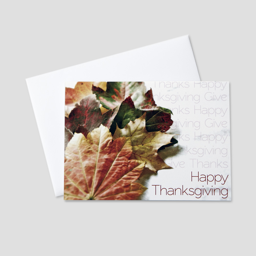 Company thanksgiving greeting card ceo cards professional thanksgiving greeting card featuring autumn leaves with repeating thanksgiving messages on a white background m4hsunfo