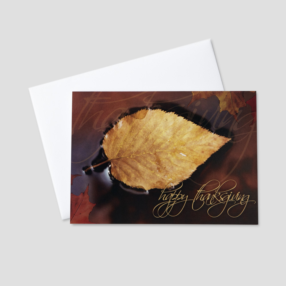 Festive business thanksgiving greeting cards ceo cards professional thanksgiving greeting card with a script happy thanksgiving message next to a floating fall colored m4hsunfo