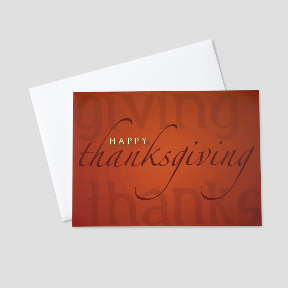 Professional autumn greeting cards ceo cards professional thanksgiving greeting card with an orange background and multiple thanksgiving messages kristyandbryce Image collections