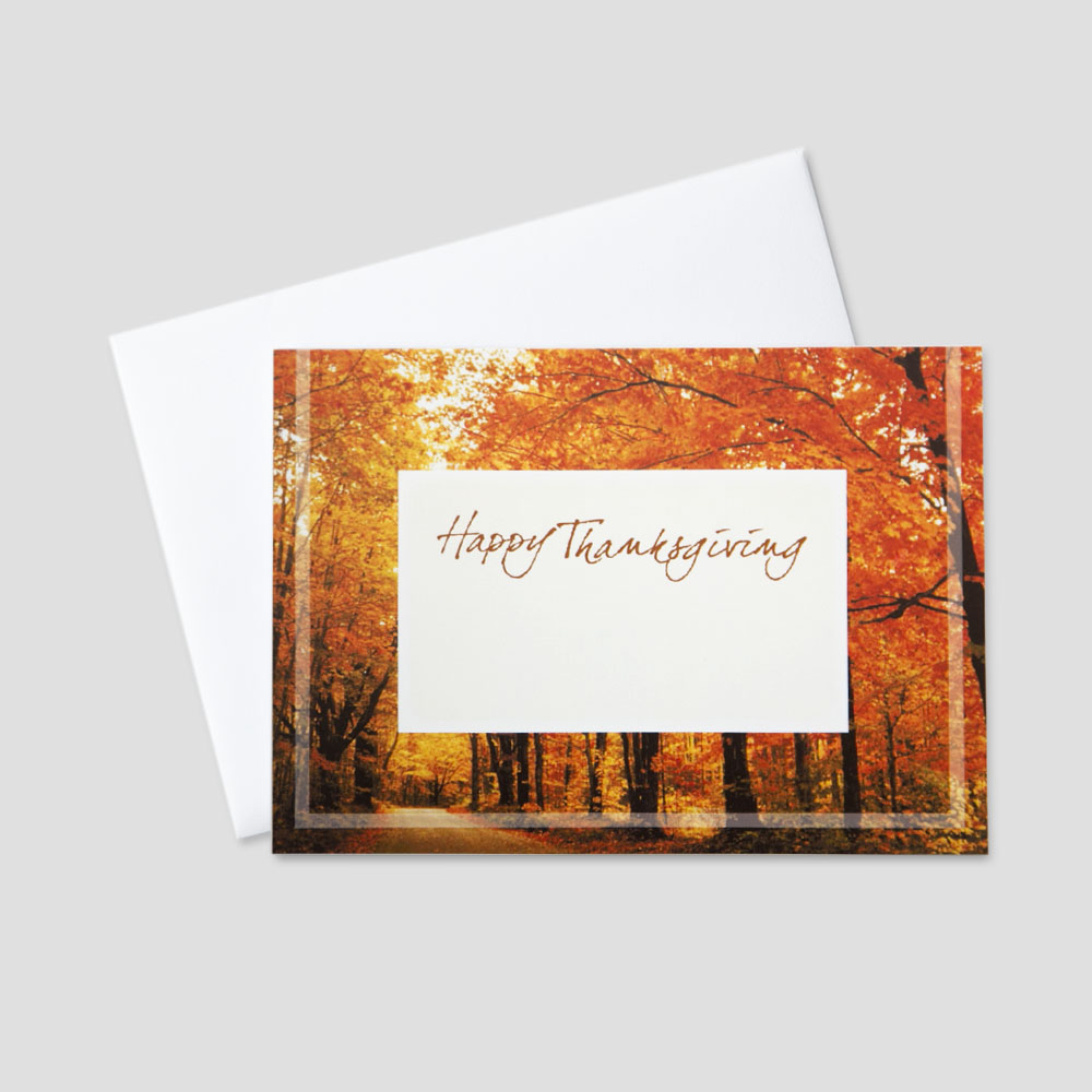 Customizable business thanksgiving greeting cards ceo cards professional thanksgiving greeting card featuring a fall colored forest and a white space in the middle kristyandbryce Image collections