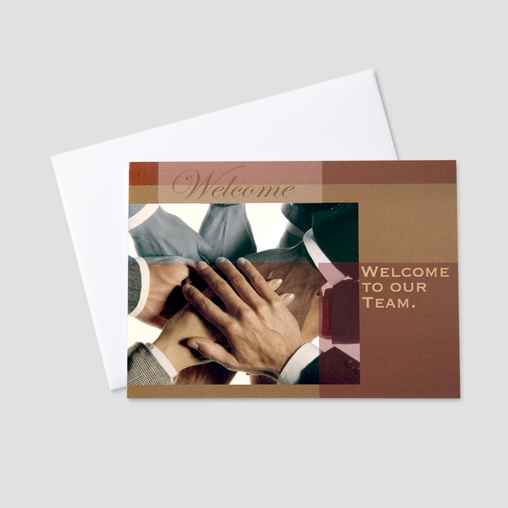 Business welcome greeting cards ceo cards business welcome greeting card featuring many hands symbolizing teamwork and a welcome message m4hsunfo