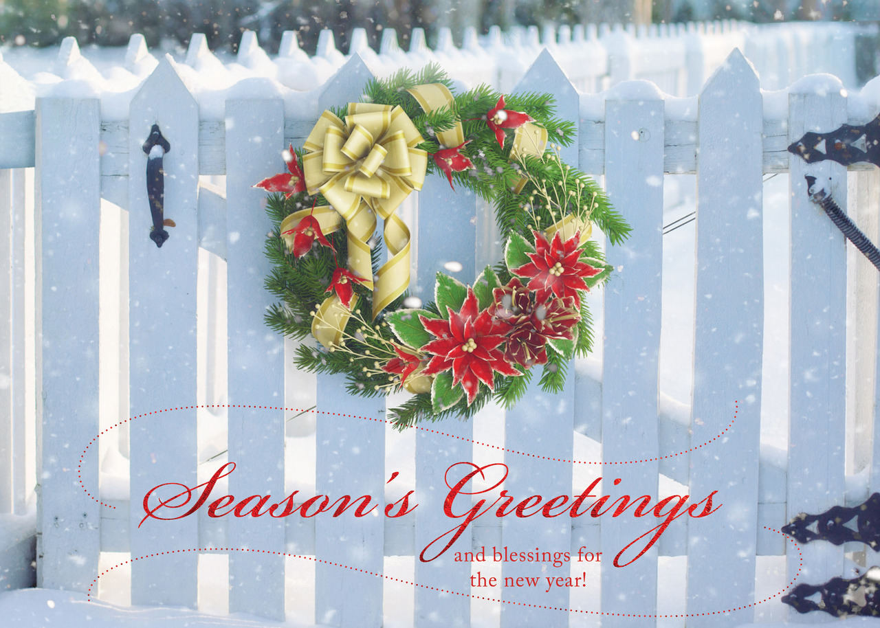 Client foil printed holiday greeting cards ceo cards professional holiday greeting card with a holiday wreath on a white picket fence and a seasons m4hsunfo