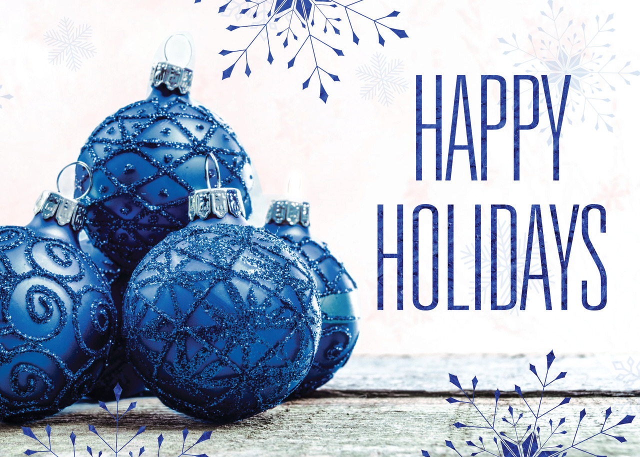 Company happy holidays foil printed greeting cards ceo cards business holiday greeting card featuring glimmering blue ornaments and blue foil printed snowflakes and happy holidays kristyandbryce Gallery