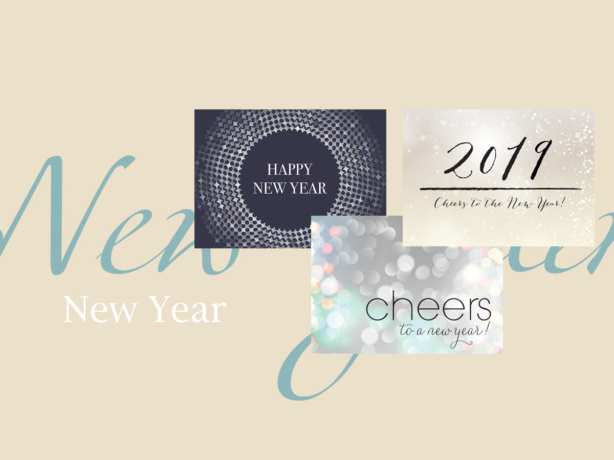 New Year banner featuring three top-selling New Year greeting cards
