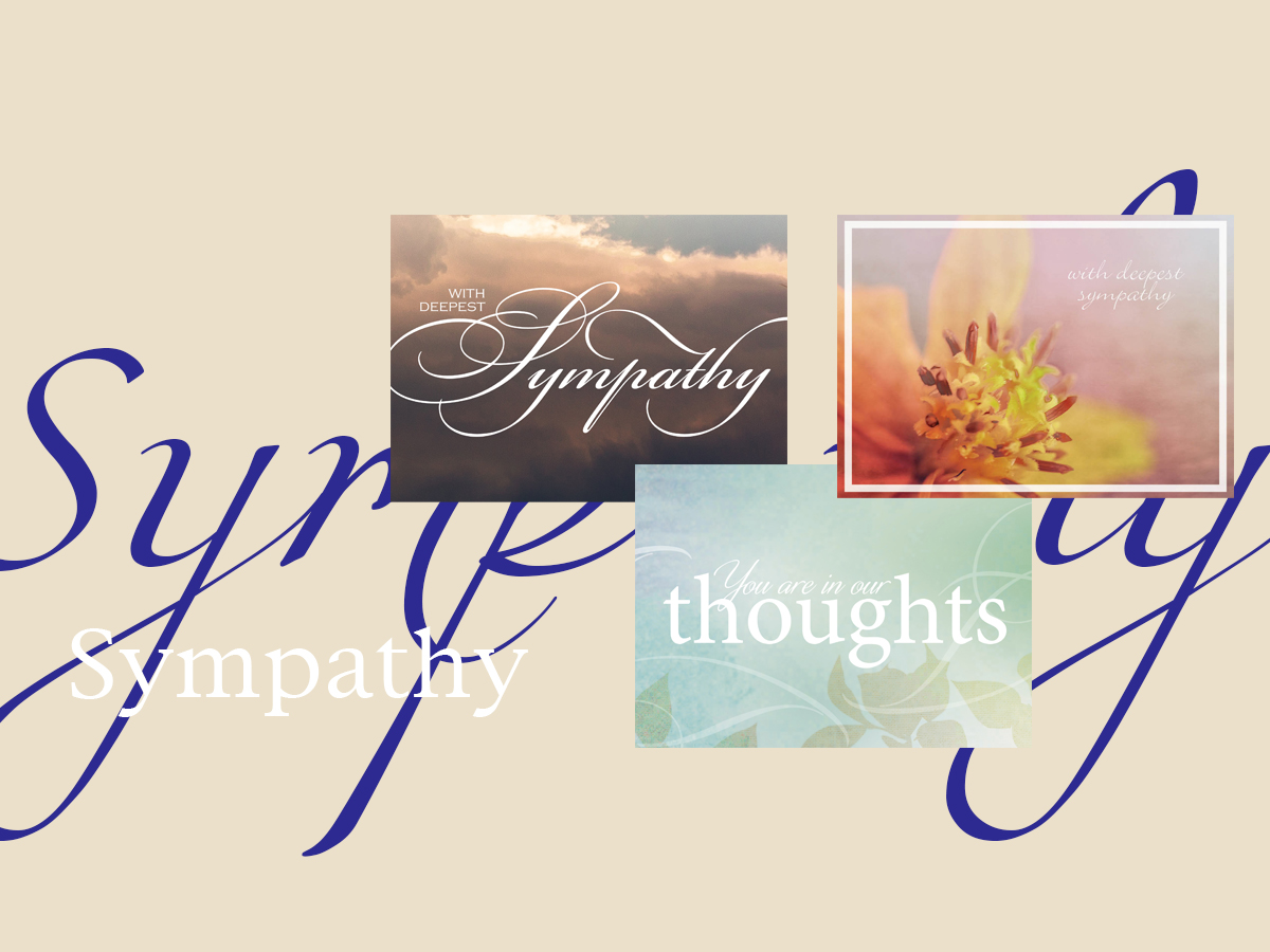 Sympathy banner featuring three top-selling Sympathy greeting cards