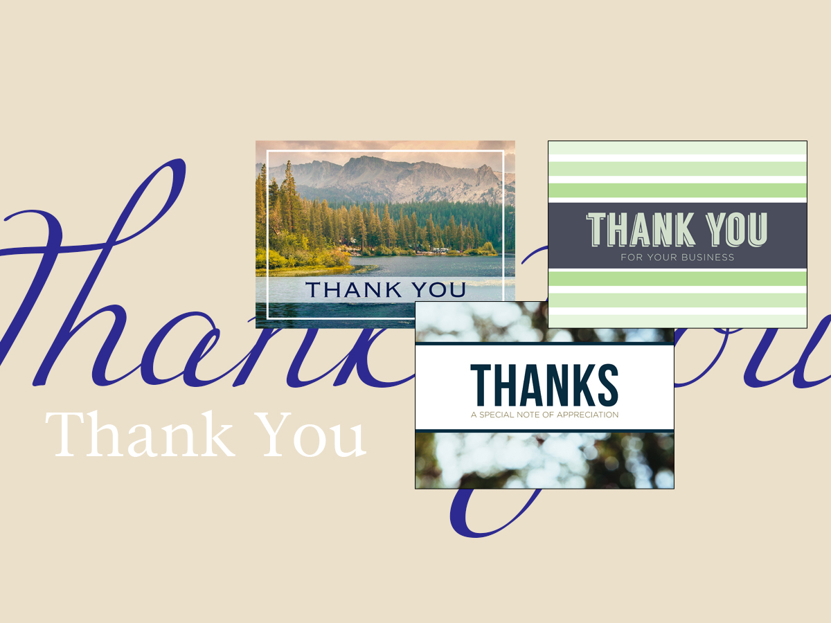 Thank You banner featuring three top-selling Thank You greeting cards