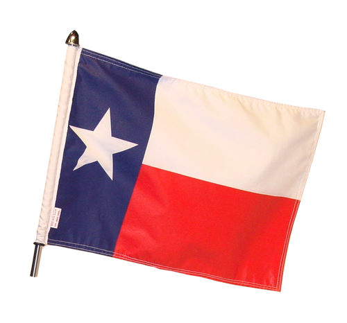 "10""x15"" parade flag (shown on 13"" pole with standard cone topper); #POLE-13-TEX15"