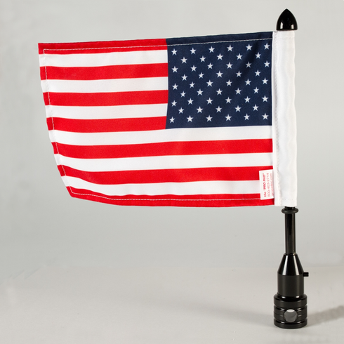 Tour-Pak 1/2 Fixed Motorcycle Flag Mount - Black / 9 Pole With Flag / POW Topper For Harley-Davidson Motorcycles / Made In USA by Pro Pad
