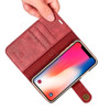 iPhone X Leather Wallet+Removable Case Cover Red