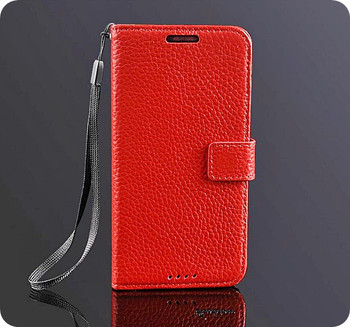 HTC One M7 Real Cowhide Leather Wallet Case Red