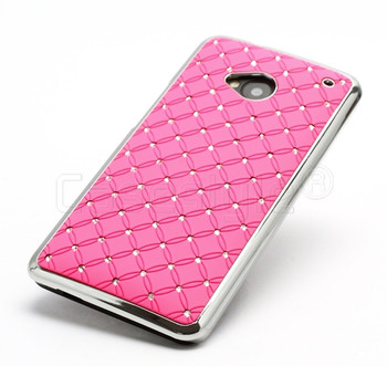 HTC One M7 Bling Chrome Case Pink