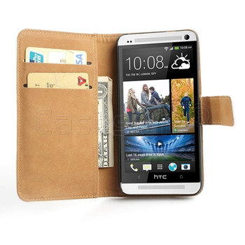 HTC One Genuine Leather Wallet Case White