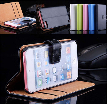 iPod Touch 6/5 Genuine Leather Wallet Flip Case Pink