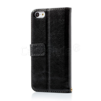 iPhone 5C Shiny Leather Wallet Case Black