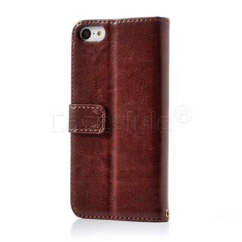 iPhone 5C Shiny Leather Wallet Case Brown