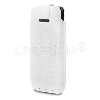 iPhone 5S/5C/5/4S Genuine Leather Pouch Case White