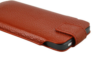 iPhone 5S/5C/5/4S Genuine Leather Pouch Case Brown