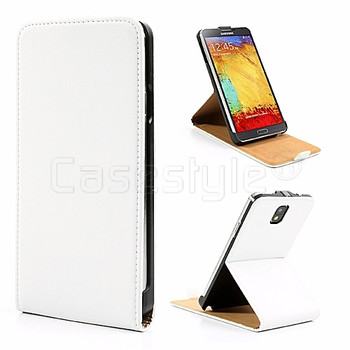 Samsung Galaxy Note 3 Leather Stand Flip Case White