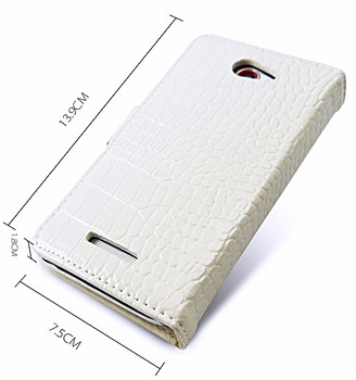 HTC One 1 Crocodile Wallet Case Genuine Leather White