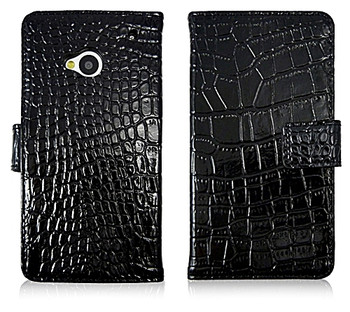 HTC One 1 Crocodile Wallet Case Genuine Leather Black