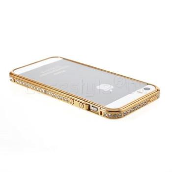 iPhone 5S Diamond Inlaid Luxury Bumper Case Gold