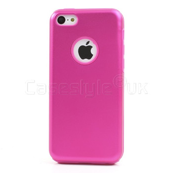 iPhone 5C Metal Back+Silicone Case Pink