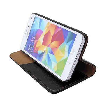 Samsung Galaxy S5|S5 Neo Genuine Leather Wallet Case Black