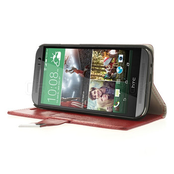 HTC One M8 Leatherette Wallet Case Red