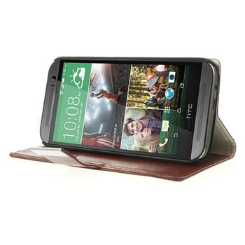 HTC One M8 Leatherette Wallet Case Brown