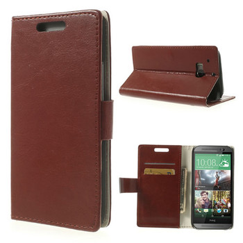 HTC m8 wallet cover brown