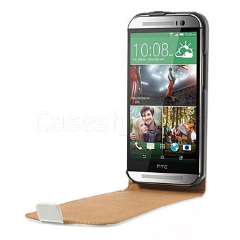 HTC One M8 Leather Flip Case White