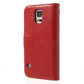 Samsung Galaxy S5|S5 Neo Wallet Folio Leather Case Red