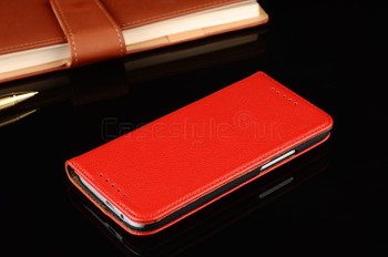 HTC One M8 Real Leather Wallet Case Red