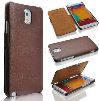 Samsung Galaxy Note 3 Real Leather Wallet Case Brown