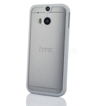 HTC One 2 M8 Bumper Case Clear Back White