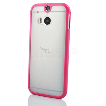 HTC One 2 M8 Bumper Case Clear Back Pink