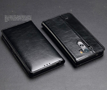 LG G3 Genuine Leather Premium Wallet Flip Case Black