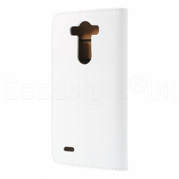 LG G3 Leather Wallet Flip Case White