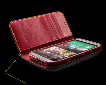 HTC One 2 M8 Calf Skin Leather Wallet Case Red