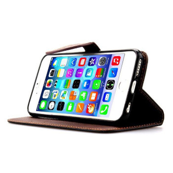 iPhone 6 6S Wallet Case Black with Clutch