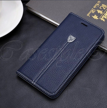 iPhone 6+6S PLUS Real Leather Wallet Cover Blue
