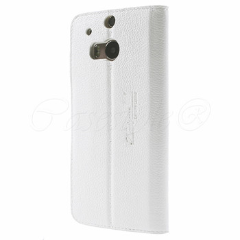 HTC One M8 Genuine Leather Slim Cover White