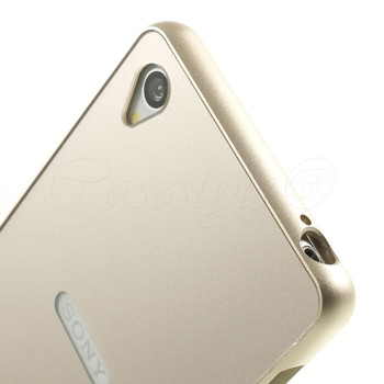 Sony Xperia Z3 Metal Bumper+Hard Back Cover Gold