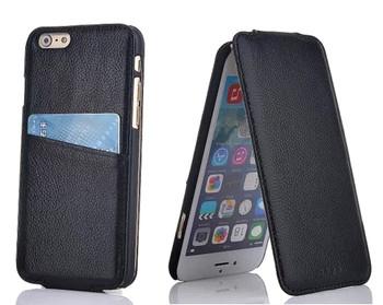 iPhone 6 6S Card Slot Leather Flip Case Black