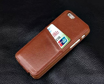 iPhone 6 6S Card Slot Leather Flip Case Brown