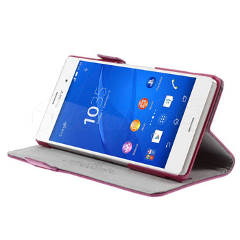 Sony Xperia Z3 Real Leather Wallet Pouch Pink
