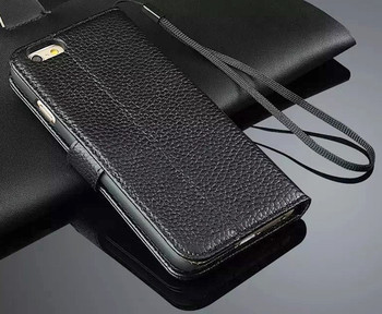 iPhone 6 6S Cowhide Leather Wristlet Wallet Cover Black