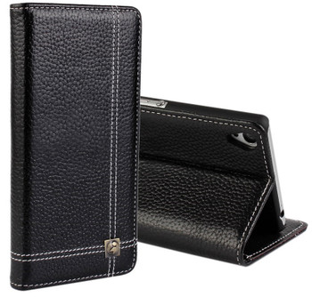 Sony Xperia Z3 Leather Wallet Cover Black