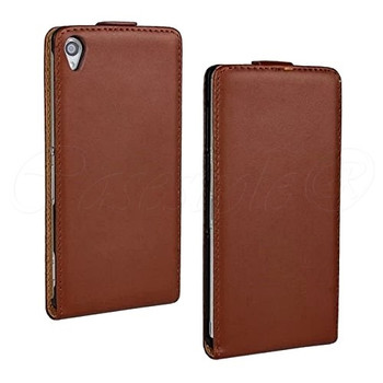 Sony Xperia Z3 Leather Flip Case Brown